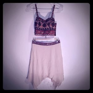 Balconette crop top (M) with matching skirt (S)